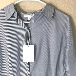 Grey Lab Striped Uneven Hem Button Down Top Small